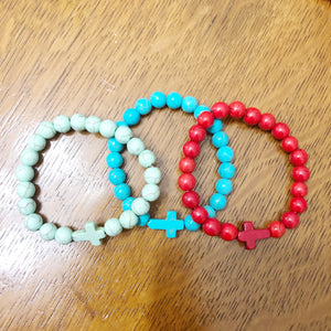 Large Bead Cross Bracelet - Shoppe3130