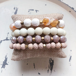 Lt Pink Beaded Bracelet Set - Shoppe3130