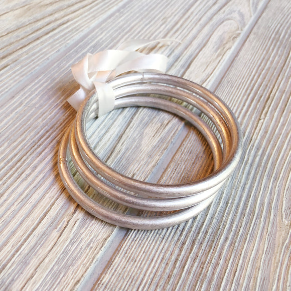 Worn Silver Bangle Set - Shoppe3130