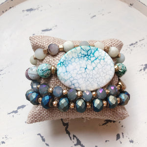 Teal And White Stone Beaded Bracelet