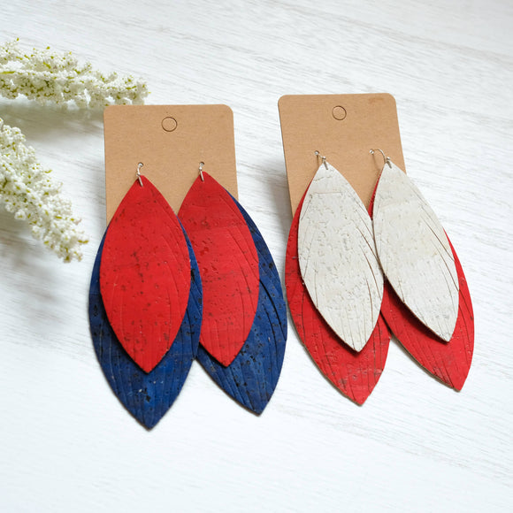 Cork Double Feather Earrings - Shoppe3130