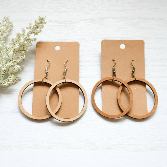 Wooden Cutout Circle Earrings - Shoppe3130