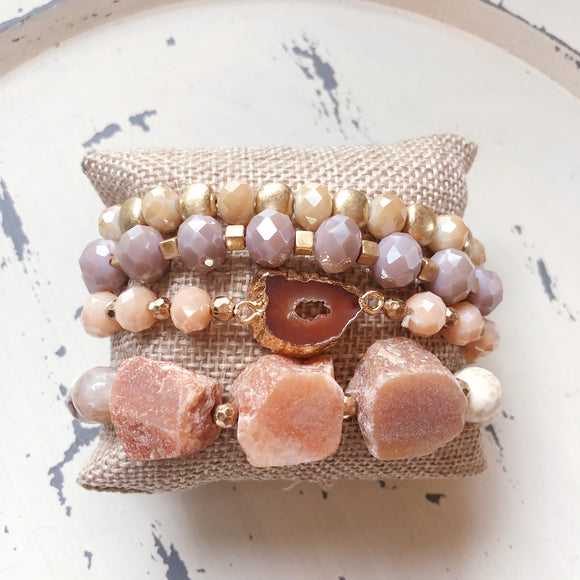 Mauve Natural Layered Beaded Bracelet - Shoppe3130