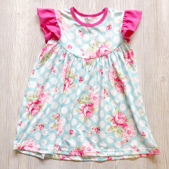 Girls Blue And White Polka Dot Floral Dress