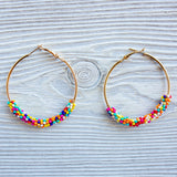 Seed Bead and Gold Hoops - Shoppe3130