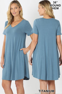 V-Neck Short Sleeve A Line Dress - Shoppe3130