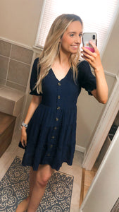 Navy Puff Sleeve Mini Dress