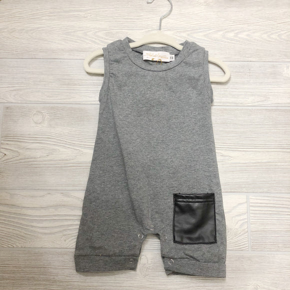 Gray Leather Pocket Romper - Shoppe3130