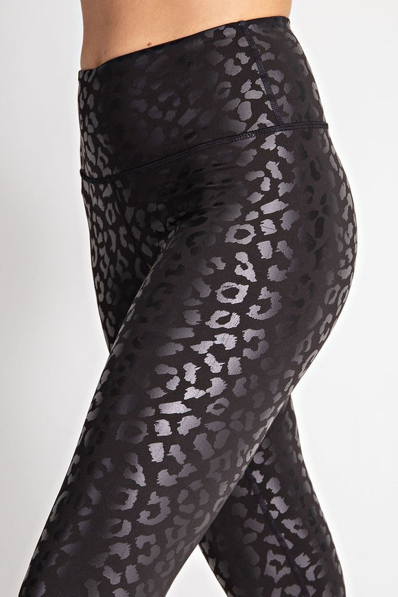 Rae Black Shine Leopard Leggings