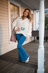 Blue Flare Fringe Pants - Shoppe3130