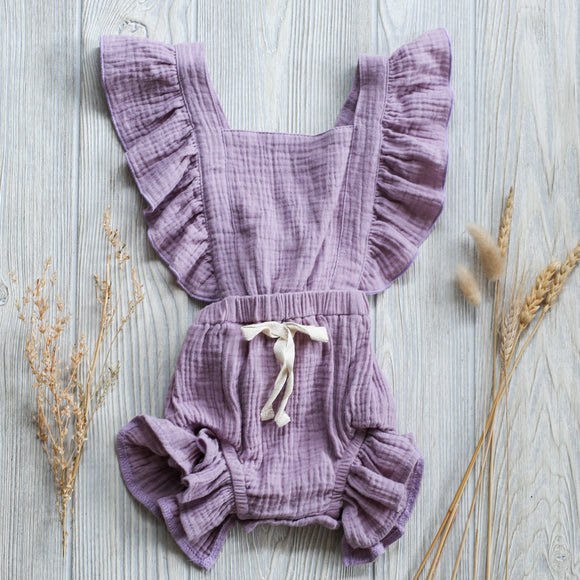 Lavender Ruffle Baby Romper