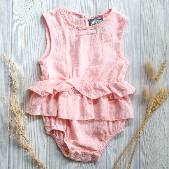 Pink Lace Ruffle Baby Romper
