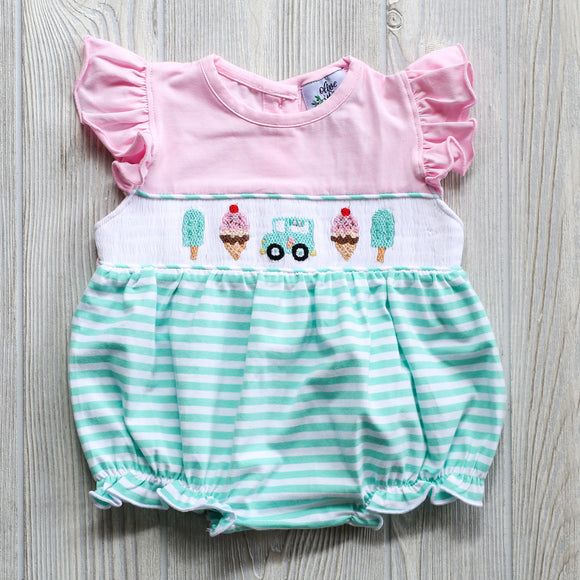 Smocked Ice Cream Bubble Romper