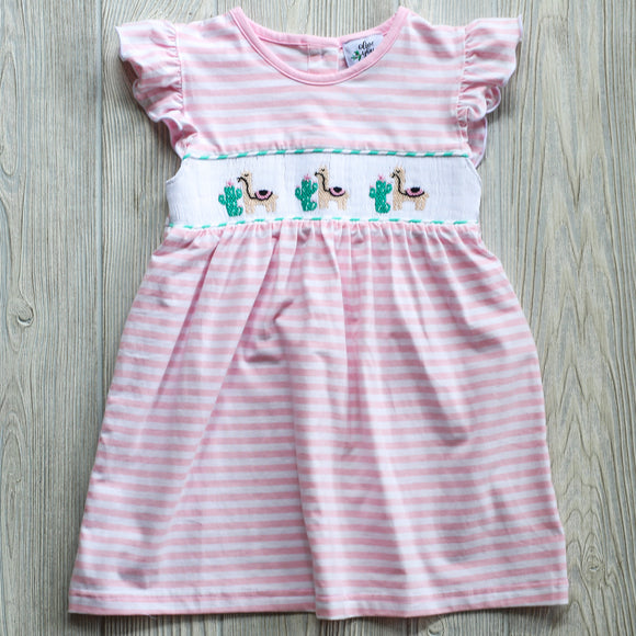 Girls Lovely Llama Smocked Dress