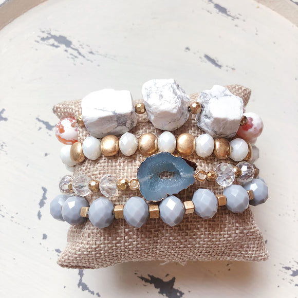 White Layered Beaded Bracelet Set - Shoppe3130