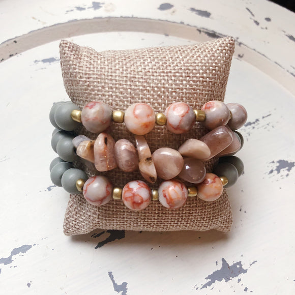 Grey Layered Beaded Bracelet Set - Shoppe3130