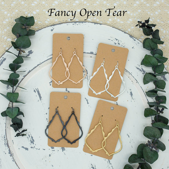 Fancy Open Tear Metal Earrings - Shoppe3130