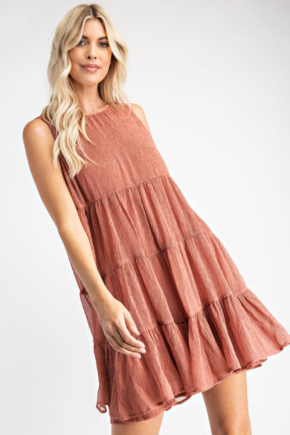 Brick Textured Babydoll Dress
