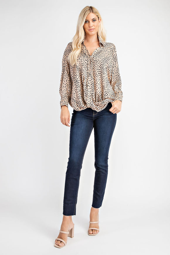 Leopard Print Blouse with High Back and Twist Front