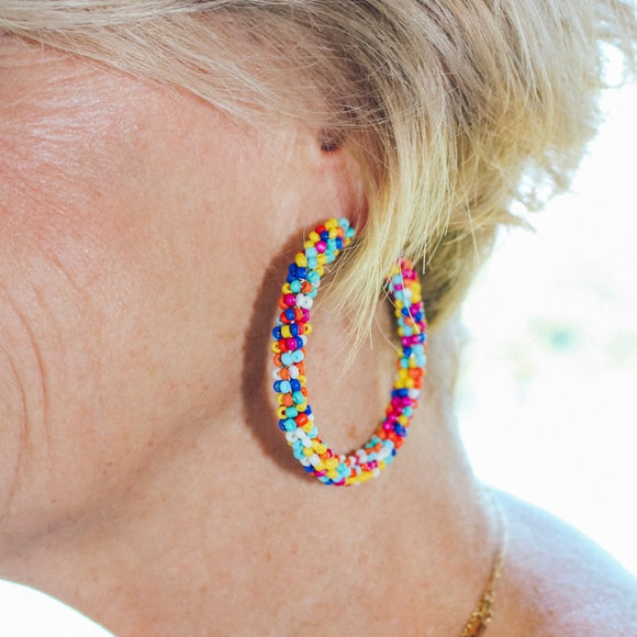 Multi Seed Bead Hoop Earrings - Shoppe3130