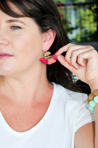Coral And Dark Pink Raffia Earrings - Shoppe3130