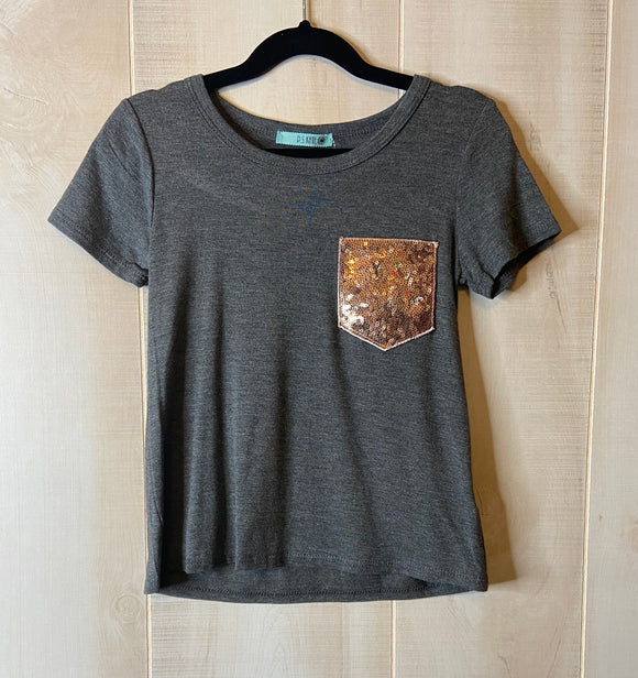Solid Short Sleeve Sequin Pocket Tee Shirt