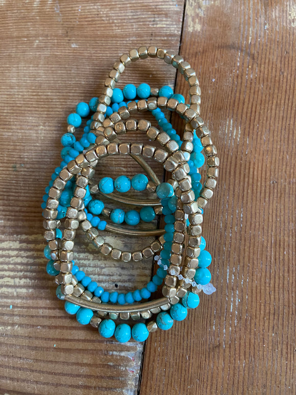 Teal And Gold Beaded Bracelet - Shoppe3130