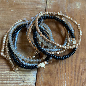 Black Gold And Silver Beaded Bracelet - Shoppe3130