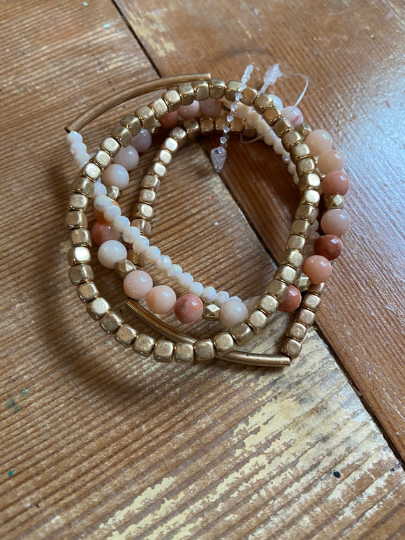 Peach And Gold Beaded Bracelet