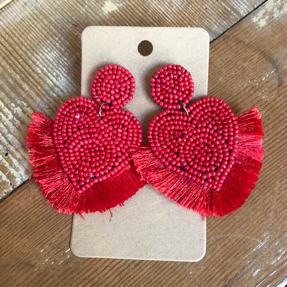 Red Heart Tassel Earrings - Shoppe3130