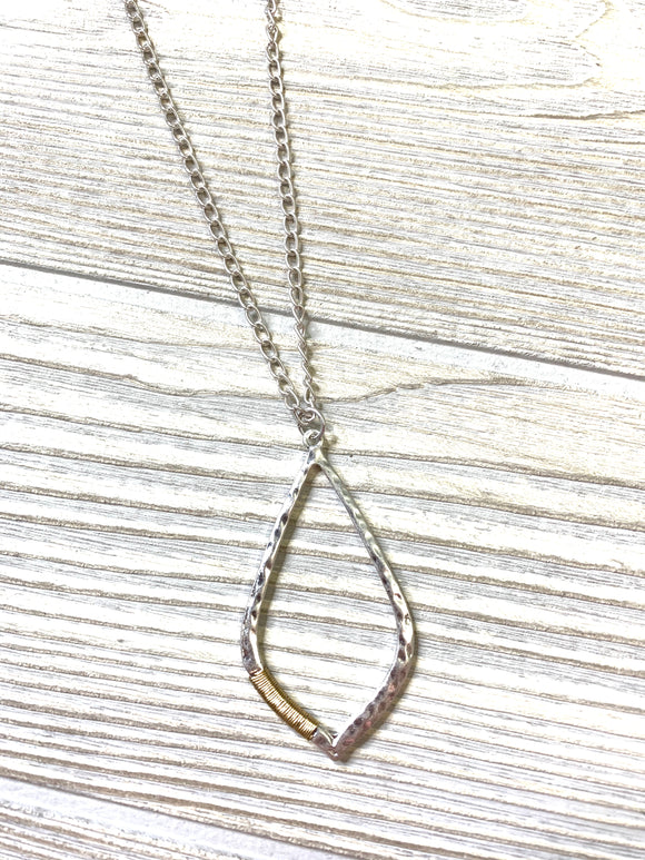 Silver  and Gold Wrapped Necklace - Shoppe3130