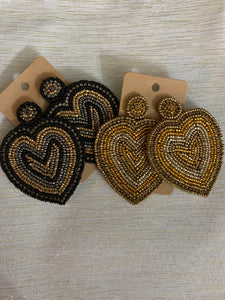 Seed Bead Big Heart Earrings - Shoppe3130