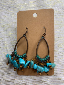 Turquoise/Brown Rock Earring - Shoppe3130