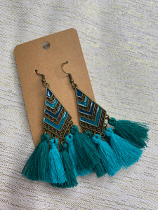 Teal Chevron Tassel Earring - Shoppe3130