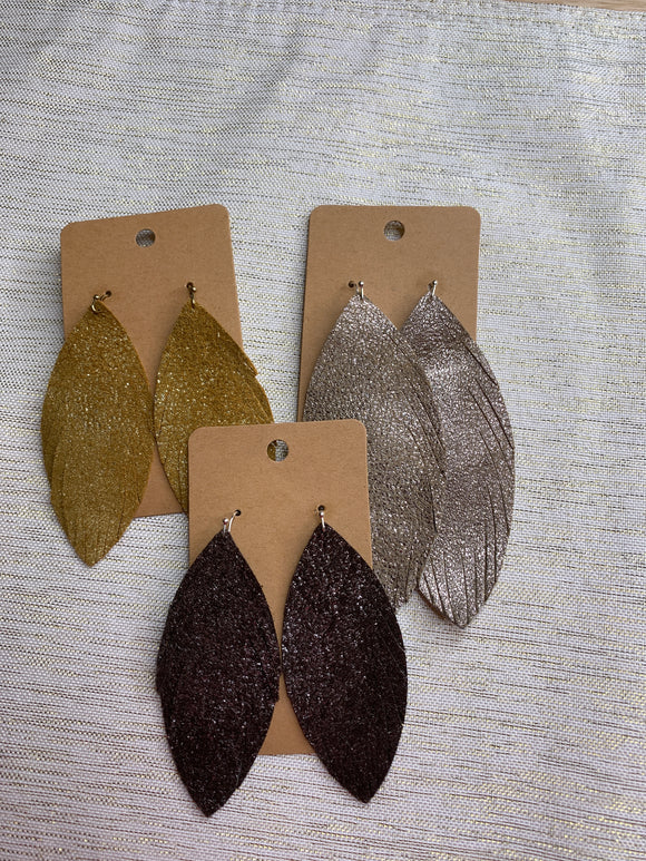 Genuine Leather Feather Earrings - Shoppe3130