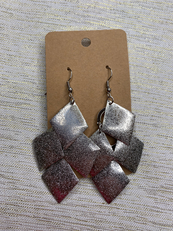 Silver Diamond Dangle Earrings - Shoppe3130