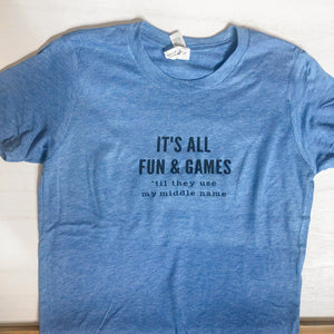 Kids Blue It's All Fun Graphic Tee