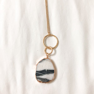 Gray and White Marble Necklace