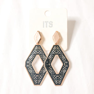 Black Laser Cut Diamond Earrings