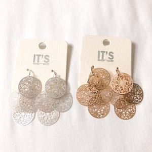 Filigree Coin Dangle Earrings