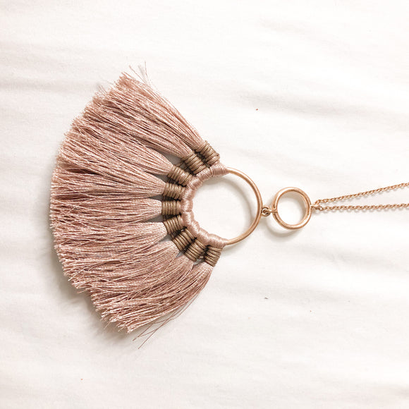 Mauve Tassel Necklace