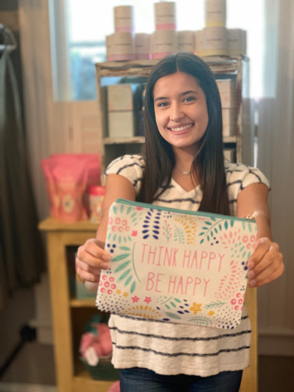 Think Happy Be Happy Zipper Pouch