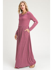 Oh Baby Doll Striped Maxi Dress with Pockets