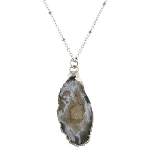 Daphne Grey Druzy Pendant Necklace - Shoppe3130