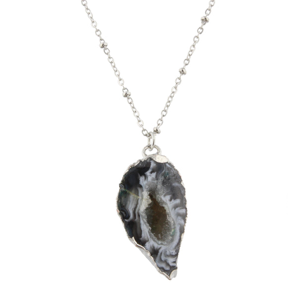 Daphne Jet Druzy Pendant Necklace - Shoppe3130