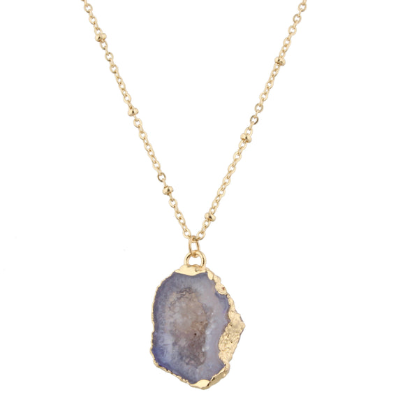 Daphne Purple Druzy Pendant Necklace - Shoppe3130