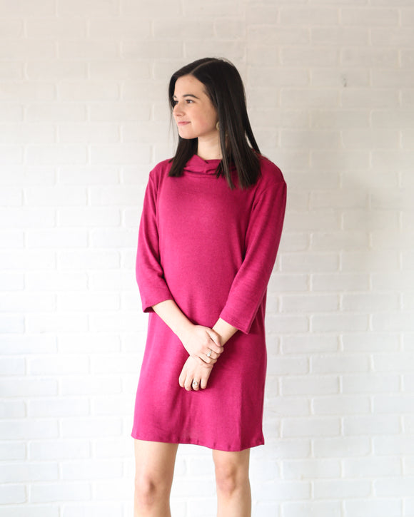 Soft Cowl Neck Tunic Dress