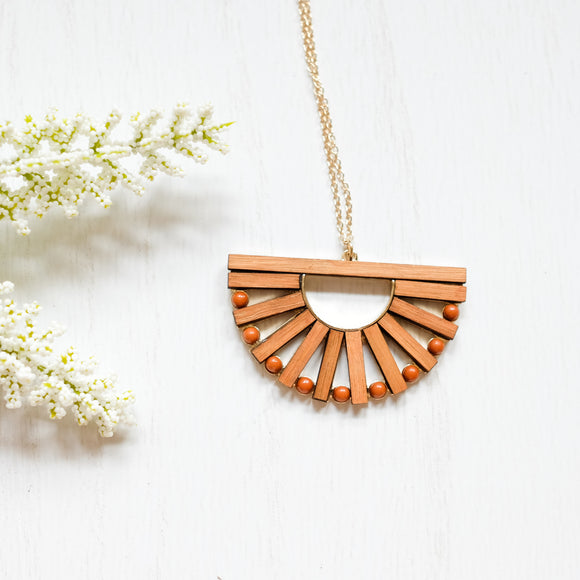 Sunrise Wooden Necklace - Shoppe3130