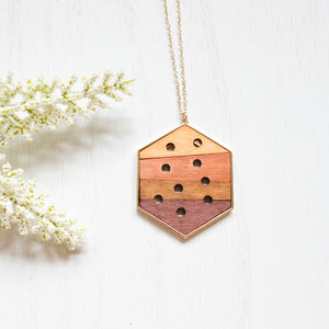 Ombre Hexagon Wooden Necklace - Shoppe3130