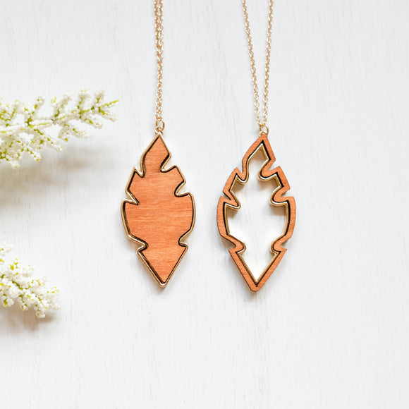 Wooden Leaf Necklace - Shoppe3130